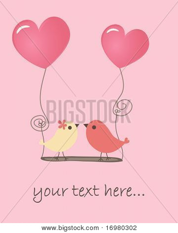 Birds in love. Vector.