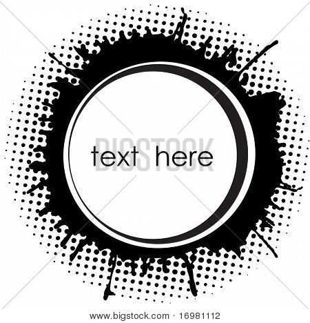 Abstract round frame with ink spots and place for text.