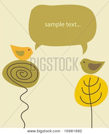 Cute birds couple  on the  tree. Vector illustration.