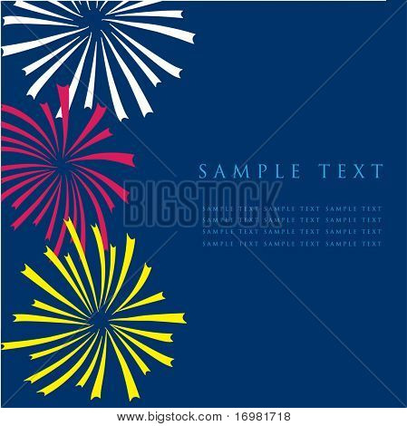 Fireworks. Design for greeting card.