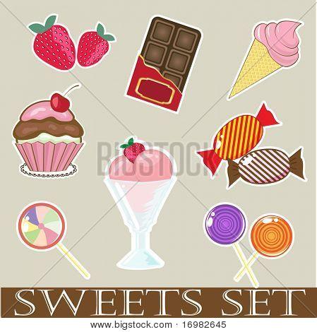 Dulces y pasteles. Formato vectorial.