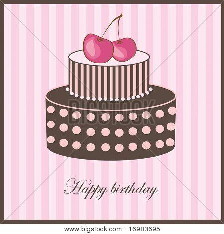 Birthday card with cherry cake