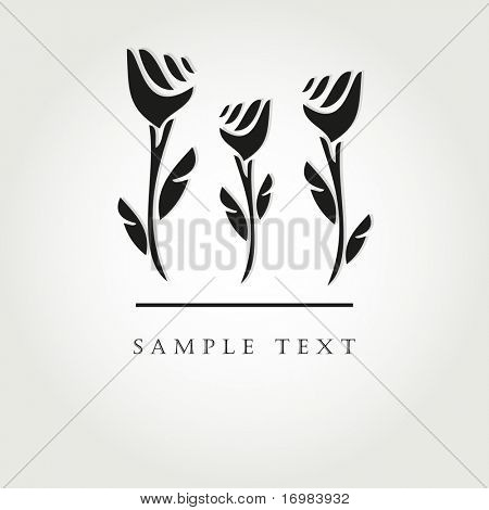 Black flowers. Vector illustration