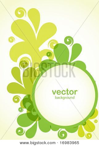 Abstract floral card in green colors