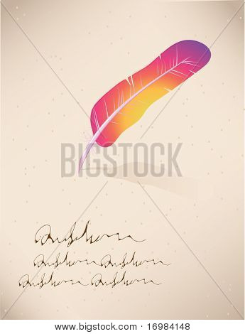 Retro card with feather