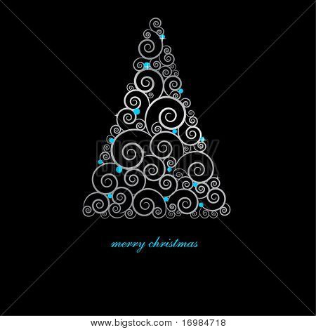 Vintage christmas card with holiday tree on black background