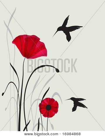 hummingbirds and poppies. Jpeg version