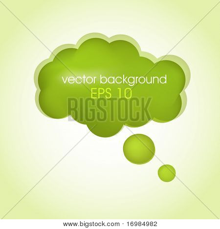 Speech cloud bubble. Green vector background