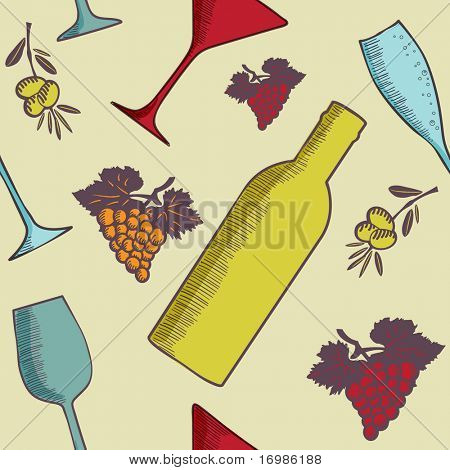 Vintage seamless background with bottles, glasses and grape