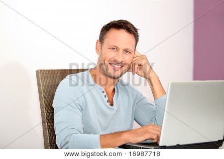 Closeup of man working at home