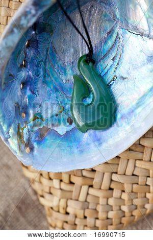 Greenstone - Jade Hook Pendant and Paua shell