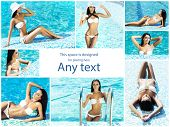 Attractive, sporty, smiling girl with sexy body. Woman in swimsuit near swimming pool. Collection co poster