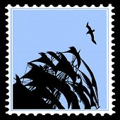 picture of sailfish  - vector silhouette sailfish on postage stamps - JPG