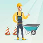 Caucasian builder with thumb up standing near wheelbarrow and traffic cones. Builder in hard hat giv poster