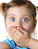 picture of scared baby  - Surprised little pretty girl - JPG