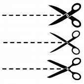 pic of scissors  - Vector scissors cut lines - JPG