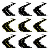 image of long winding road  - vector roads - JPG