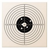 stock photo of projectile  - vector paper rifle target with bullet holes - JPG