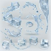 Water splashing and ice cube with transparency, 3d vector set poster