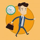 Busy caucasian businessman running on the background with clock. Busy businessman in a hurry. Concep poster