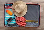 Open suitcase packed for travelling, close up poster