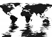 Black And White World Map Flooded