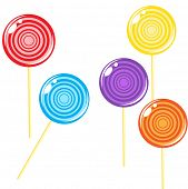Vector illustration of multicolored Lollipops