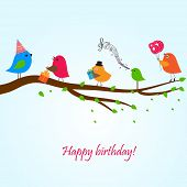 stock photo of serenade  - Birthday card with cute birds with flowers and gifts - JPG