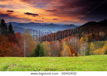 Majestic sunrise in the mountains landscape. HDR image