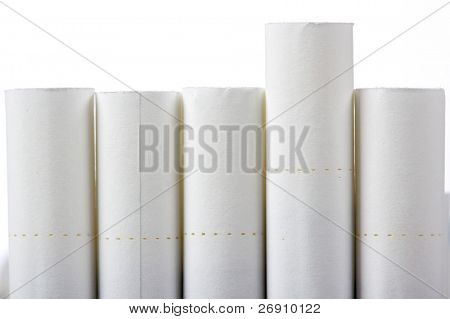 five cigarettes isolated on white
