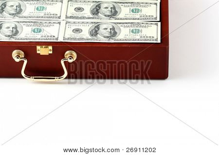 case with money on white