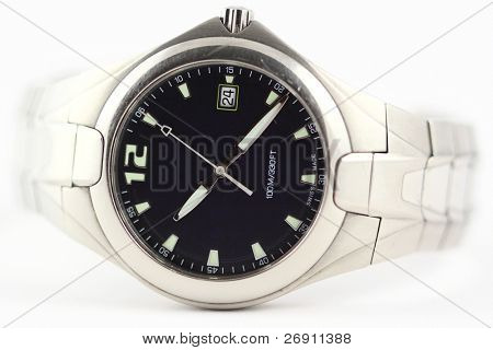 wristwatch on white
