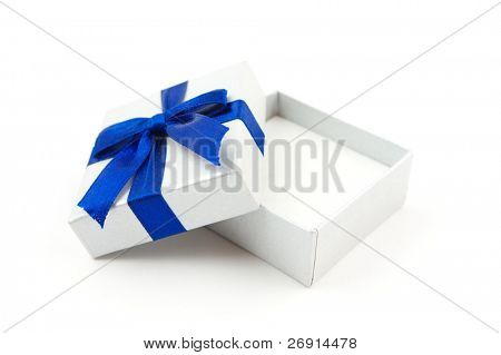 opened gift with blue bow isolated on white