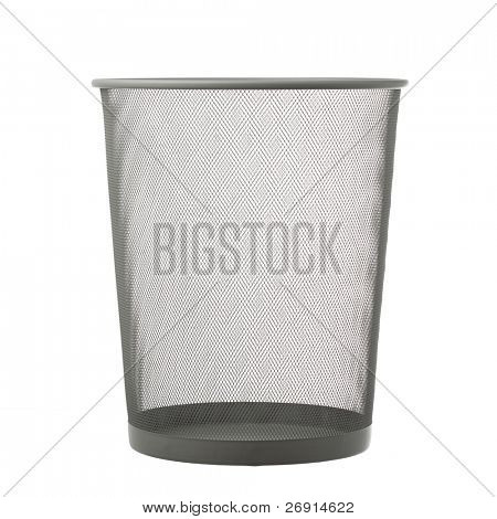 empty trash can isolated on white
