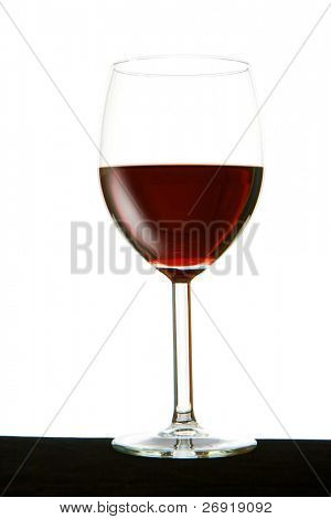 glass with red wine isolated on white