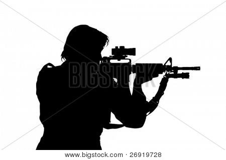 silhouette of soldier aiming the gun