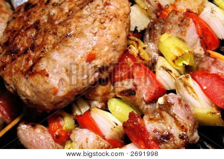 Barbeque - Meat With Vegetables On A Stick