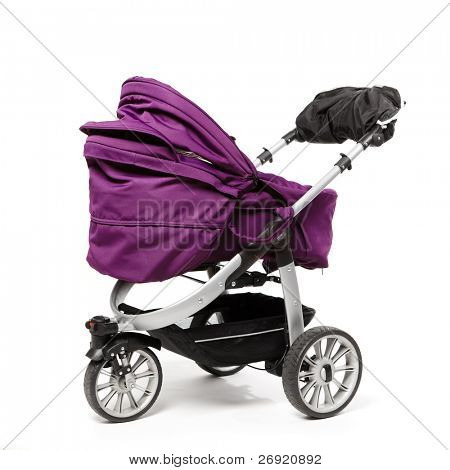 baby stroller isolated on white