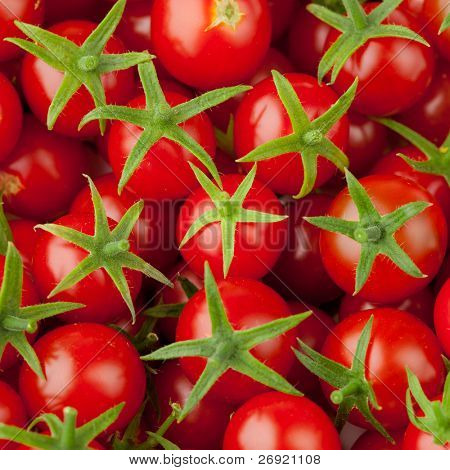 multitude of cherry tomatoes, close-up view