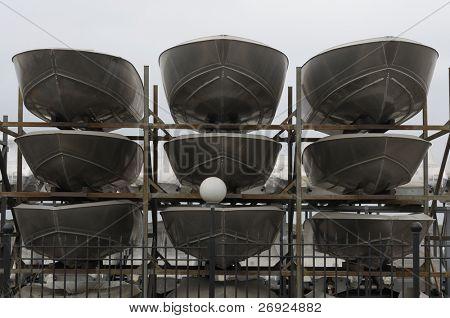 yachts carcase  on shipyard