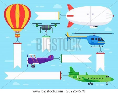 Air Vehicles Banner Flying Helicopter