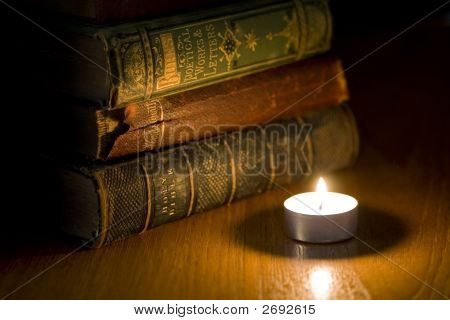 Old Books By Candle Light