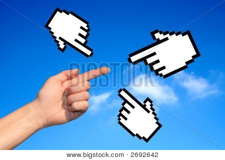 Hands On Blue Sky Background