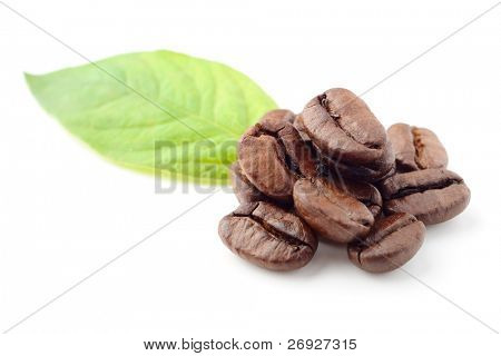 coffee beans and leaf on the white background