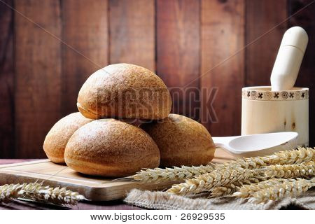 bread  and basket   on the wooden table