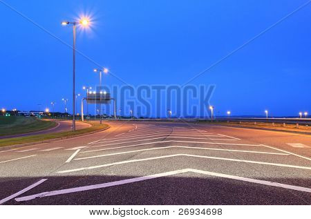 Empty highway at night