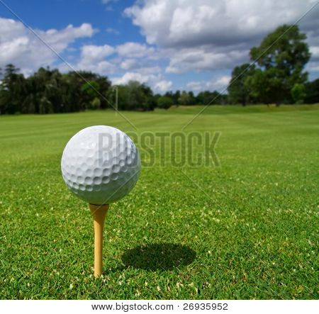 Golf ball on irish idyllic course