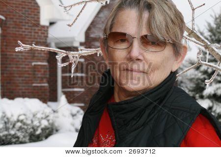 Grandma In Winter Snow Scene