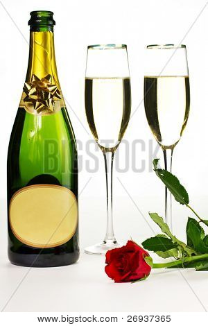 Romantic suprise of champagne and red rose