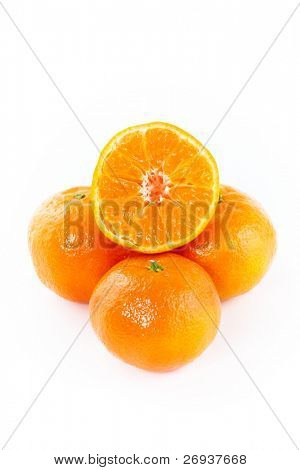 Fresh tangerines isolated on white